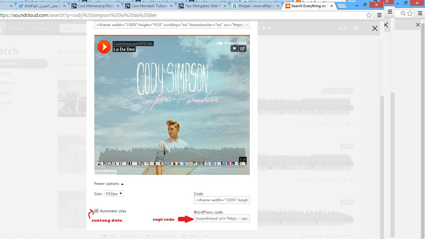 Cara Memasang Lagu Di WordPress Via Soundcloud Wwwaffajri
